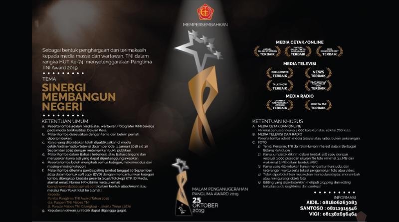 TNI Gelar Lomba Karya Jurnalistik Panglima TNI Award 2019