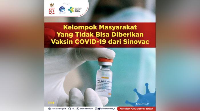 Pemerintah Rilis Daftar kriteria Masyarakat Tidak Bisa Diberikan Vaksin Covid-19 Sinovac